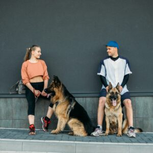 Pet Love, Dog Training, best dog breeds for family. Young sports couples walking with two German